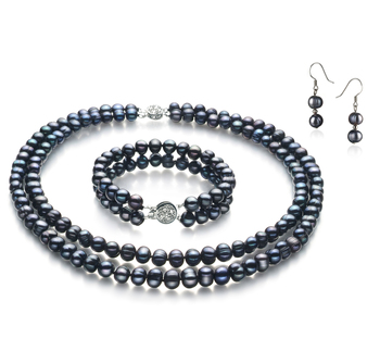 6-7mm A Quality Freshwater Cultured Pearl Set in Julika Black