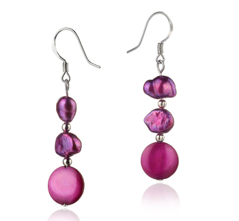 5-10mm A Quality Freshwater Cultured Pearl Earring Pair in Keita Pink
