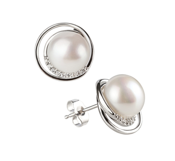 9-10mm AA Quality Freshwater Cultured Pearl Earring Pair in Kelly White