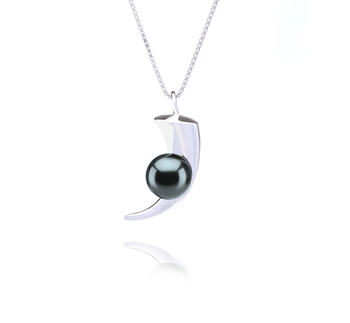 8-9mm AAA Quality Tahitian Cultured Pearl Pendant in Larina Black