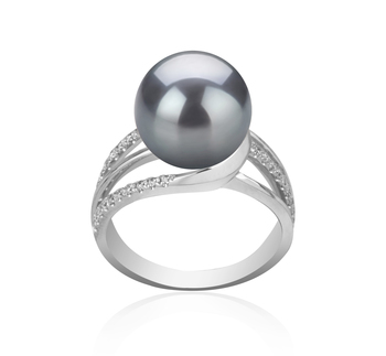 10-11mm AAA Quality Tahitian Cultured Pearl Ring in Layana Black