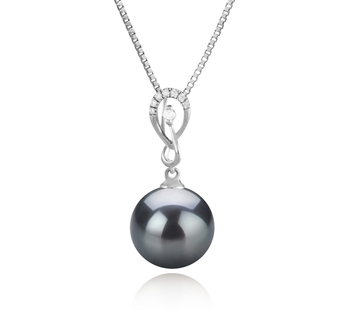 10-11mm AAA Quality Tahitian Cultured Pearl Pendant in Lena Black