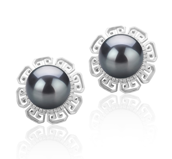 9-10mm AAA Quality Tahitian Cultured Pearl Earring Pair in Leonie Black