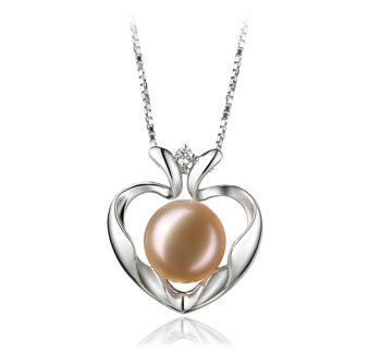 9-10mm AA Quality Freshwater Cultured Pearl Pendant in Marlina Heart Pink