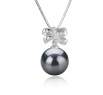 10-11mm AAA Quality Tahitian Cultured Pearl Pendant in Marte Black