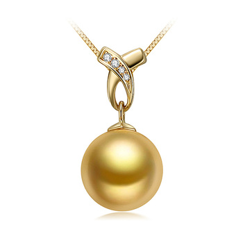 10-11mm AAA Quality South Sea Cultured Pearl Pendant in Monica Gold