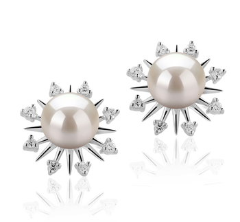 7-8mm AAAA Quality Freshwater Cultured Pearl Earring Pair in Natasha White