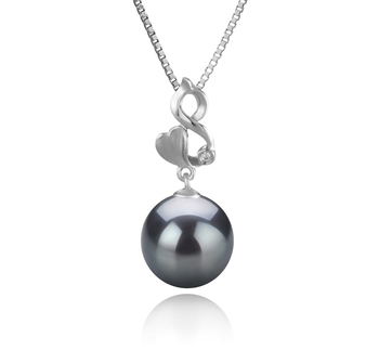 10-11mm AAA Quality Tahitian Cultured Pearl Pendant in Niamh Black