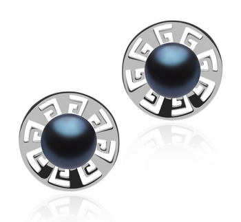 8-9mm AAA Quality Freshwater Cultured Pearl Earring Pair in Noah Black
