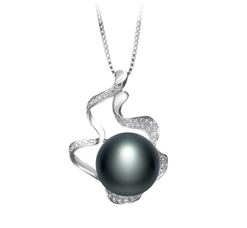 12-13mm AA Quality Freshwater Cultured Pearl Pendant in Oceane Black