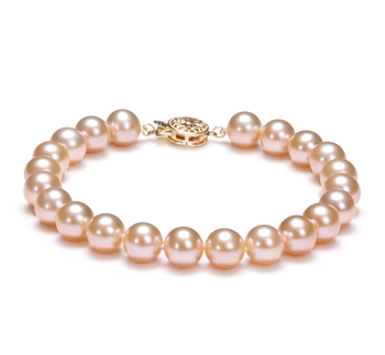 7-8mm AAAA Quality Freshwater Cultured Pearl Bracelet in Pink