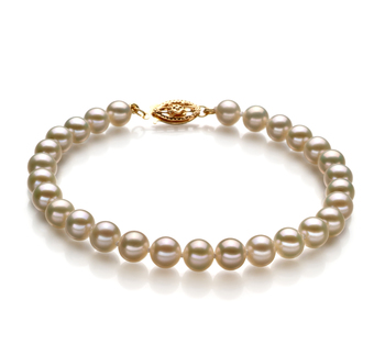 5-5.5mm AAAA Quality Freshwater Cultured Pearl Bracelet in White