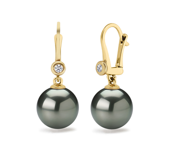 8.5-9mm AAAA Quality Freshwater Cultured Pearl Earring Pair in Illuminate Black