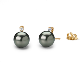 7.5-8mm AAA Quality Japanese Akoya Cultured Pearl Earring Pair in Eternity Black