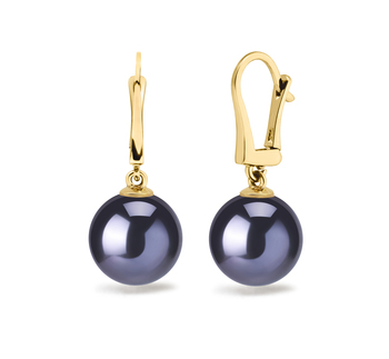 8-9mm AAAA Quality Freshwater Cultured Pearl Earring Pair in Elements Black