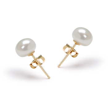 6-7mm AAA Quality Freshwater Cultured Pearl Earring Pair in White