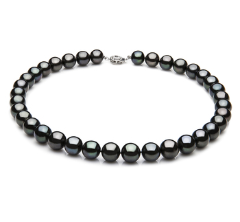 9.5-10.5mm AAA Quality Freshwater Cultured Pearl Necklace in Black
