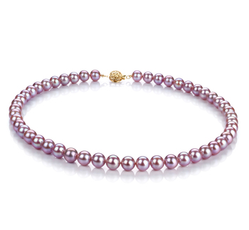 7-8mm AAAA Quality Freshwater Cultured Pearl Necklace in Lavender