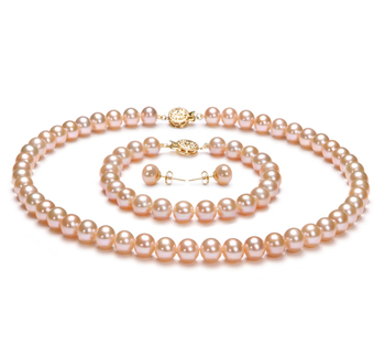 7-8mm AAA Quality Freshwater Cultured Pearl Set in Pink
