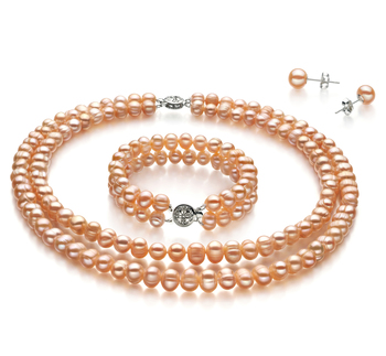 6-7mm A Quality Freshwater Cultured Pearl Set in Pink