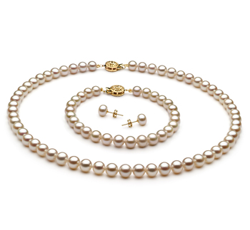 6-7mm AAA Quality Freshwater Cultured Pearl Set in White