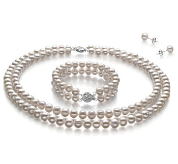 6-7mm A Quality Freshwater Cultured Pearl Set in White
