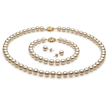 6.5-7mm AA Quality Japanese Akoya Cultured Pearl Set in White