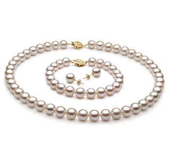 8-9mm AA Quality Japanese Akoya Cultured Pearl Set in White