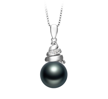 10-11mm AAA Quality Tahitian Cultured Pearl Pendant in Romola Black