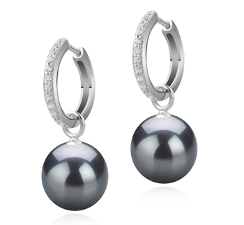 10-11mm AAA Quality Tahitian Cultured Pearl Earring Pair in Rosalind Black