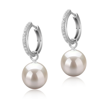 10-11mm AAAA Quality Freshwater Cultured Pearl Earring Pair in Rosalind White