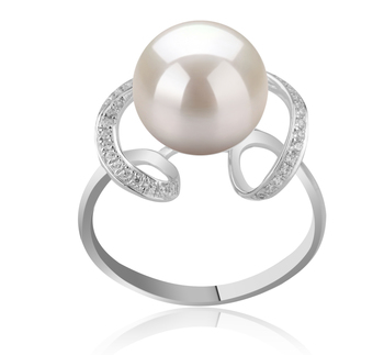 10-11mm AAAA Quality Freshwater Cultured Pearl Ring in Sheila White
