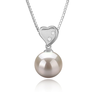 9-10mm AAAA Quality Freshwater Cultured Pearl Pendant in Taima Heart White