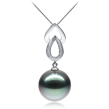 11-12mm AAA Quality Tahitian Cultured Pearl Pendant in Teardrop Black