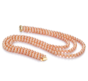 6-7mm AA Quality Freshwater Cultured Pearl Necklace in Triple Strand Pink