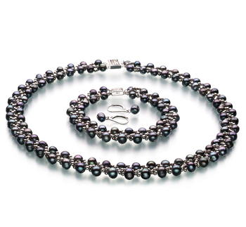 6-7mm A Quality Freshwater Cultured Pearl Set in Weave Black