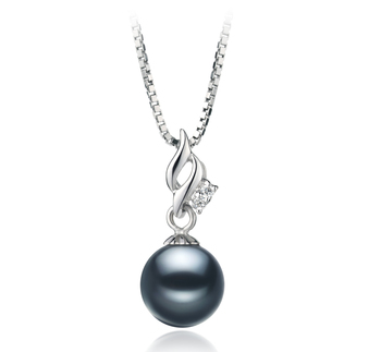 7-8mm AAAA Quality Freshwater Cultured Pearl Pendant in Zalina Black