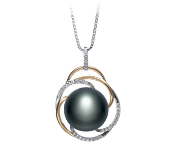 12-13mm AA Quality Freshwater Cultured Pearl Pendant in Zina Black