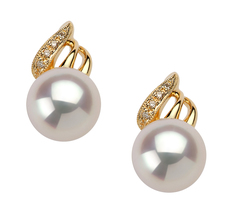 8-9mm AAA Quality Japanese Akoya Cultured Pearl Earring Pair in Anastasia White