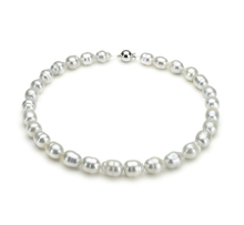 10-12.5mm A Quality South Sea Cultured Pearl Necklace in Baroque White