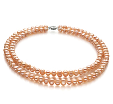 6-7mm A Quality Freshwater Cultured Pearl Necklace in Double Strand Pink