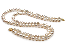7.5-8.5mm AA Quality Freshwater Cultured Pearl Necklace in Double Strand White