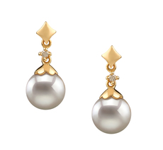 7-8mm AA Quality Japanese Akoya Cultured Pearl Earring Pair in Georgia White