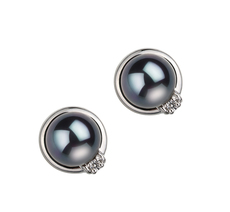 6-7mm AA Quality Japanese Akoya Cultured Pearl Earring Pair in Jocelyn Black