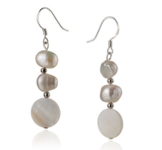 5-10mm A Quality Freshwater Cultured Pearl Earring Pair in Keita White