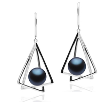 10-11mm AA Quality Freshwater Cultured Pearl Earring Pair in Nichelle Black
