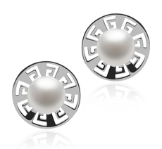 8-9mm AAA Quality Freshwater Cultured Pearl Earring Pair in Noah White