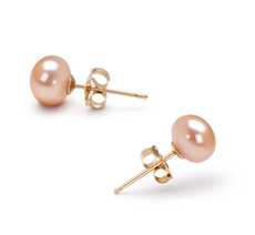 5.5-6mm AAA Quality Freshwater Cultured Pearl Earring Pair in Pink