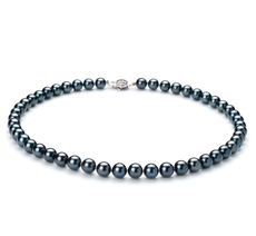 7.5-8mm AAA Quality Japanese Akoya Cultured Pearl Necklace in Black