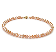 7-8mm AAA Quality Freshwater Cultured Pearl Necklace in Pink